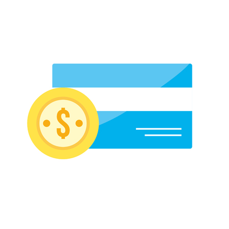 paying: credit card electronic with coin cash money vector illustration