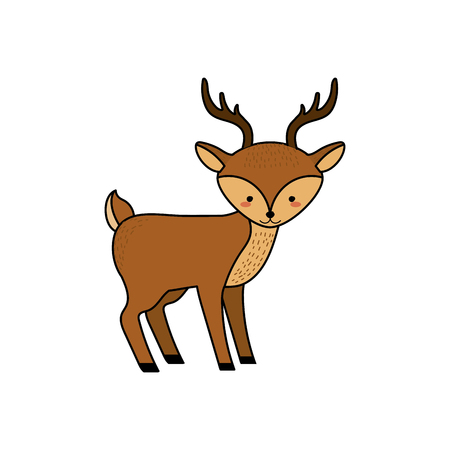 cute deer wild animal icon vector illustration Illustration