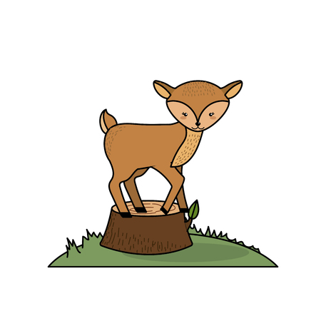 cute deer animal in bole wood tree vector illustration