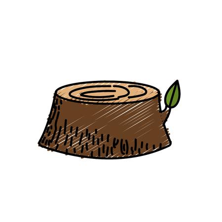 natural tree bole with ecology leaf design vector illustration