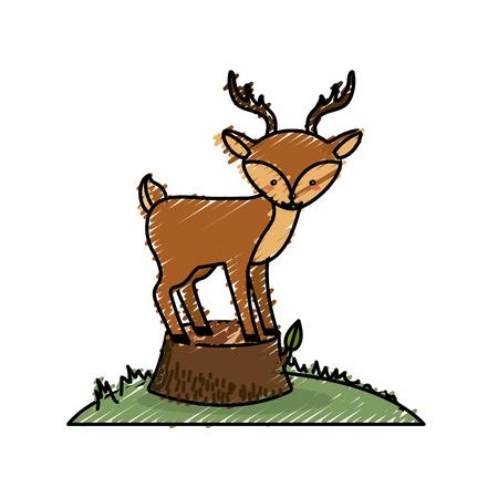 cute deer animal in bole wood tree Illustration