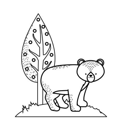 line cute bear wild animal next to tree vector illustration