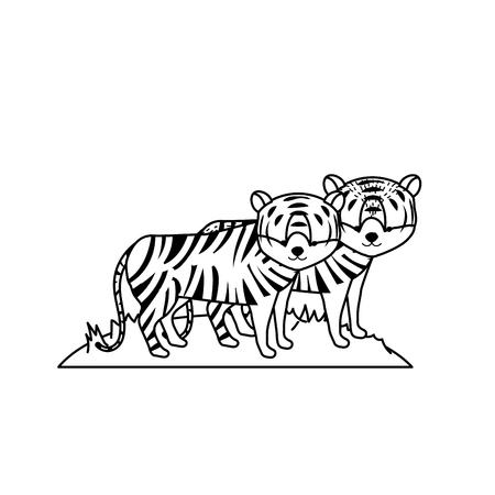 line cute tiger animal couple together vector illustration