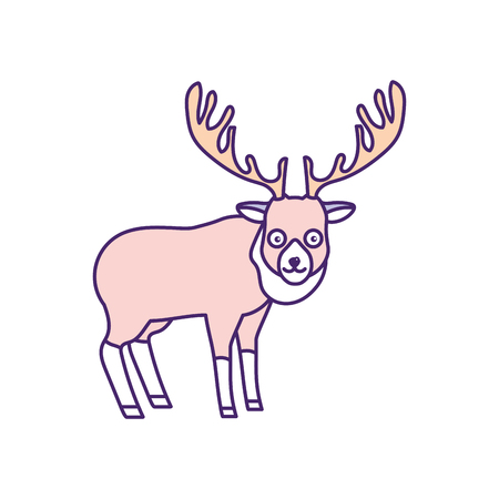 cute: cute elk wild animal icon vector illustration Illustration