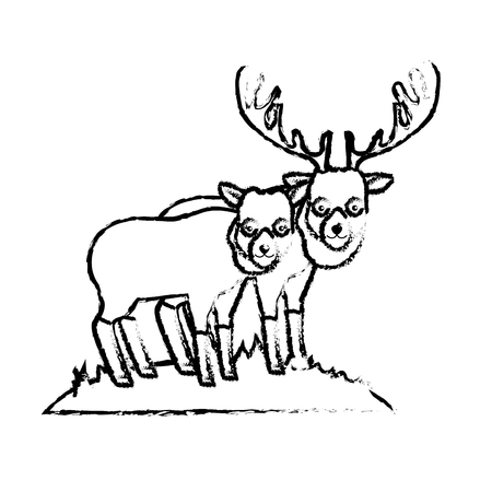 figure cute elk animal couple together vector illustration Illustration