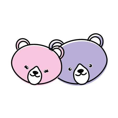 cute bear head animal couple together vector illustration