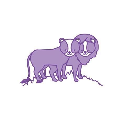 contour cute lion animal couple together vector illustration