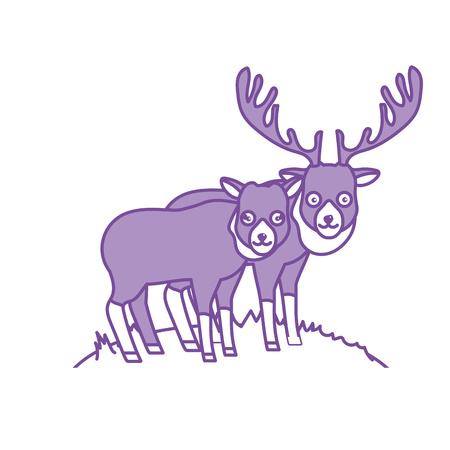 contour cute elk animal couple together vector illustration Illustration