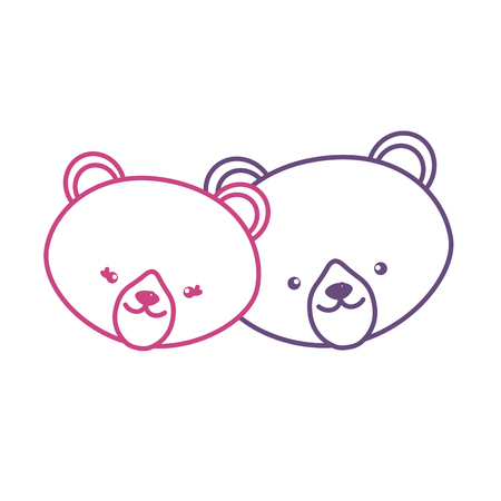 silhouette cute bear head animal couple together vector illustration