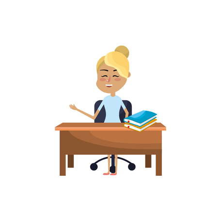 woman teacher sitting and explaining to the students vector illustration Illustration