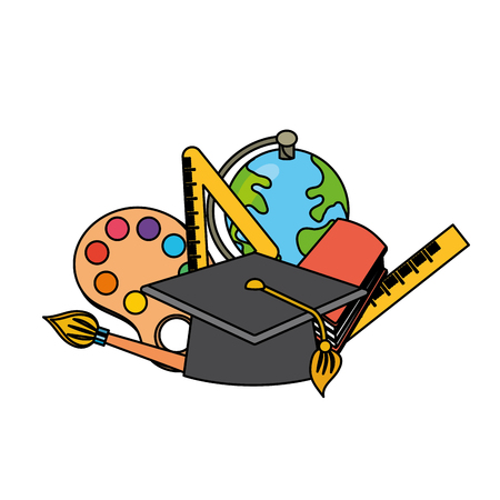 school tools to learn class education vector illustration