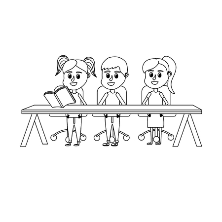 line children student sitting in the wood desk