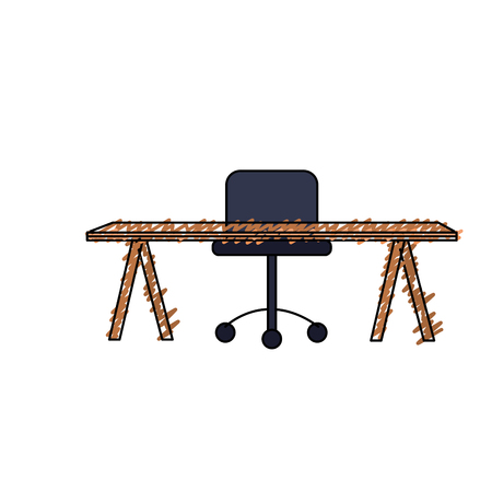 office wood desk with chair design