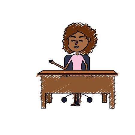 answering: woman teacher sitting and explaining to the students Illustration