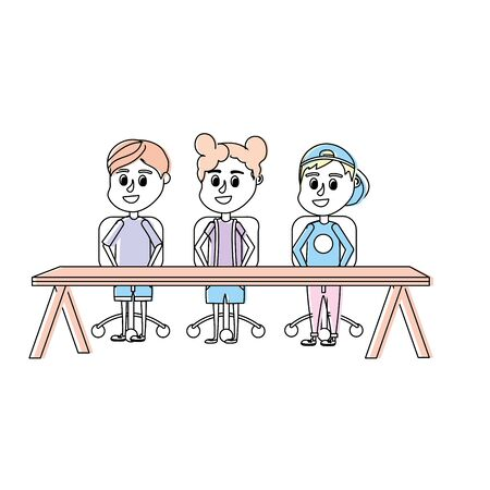 children student sitting in the wood desk vector illustration