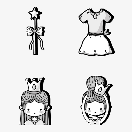 set ballet accesories decoration design vector illustration