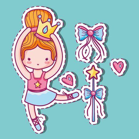 Girl practice ballet to elegant preformer vector illustration Illustration