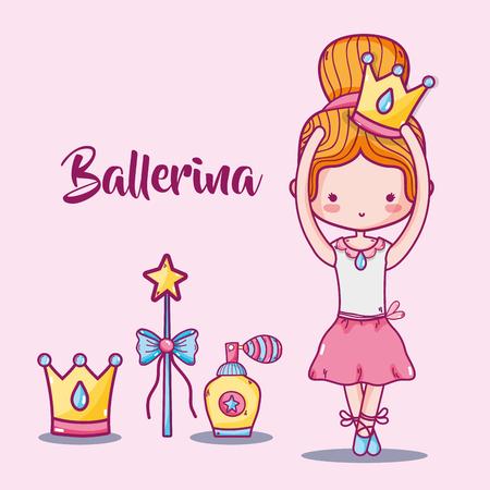 Ballerina accessories decoration to elegance performance vector illustration