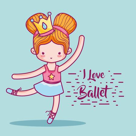 girl practice ballet to elegant preformer vector illustration