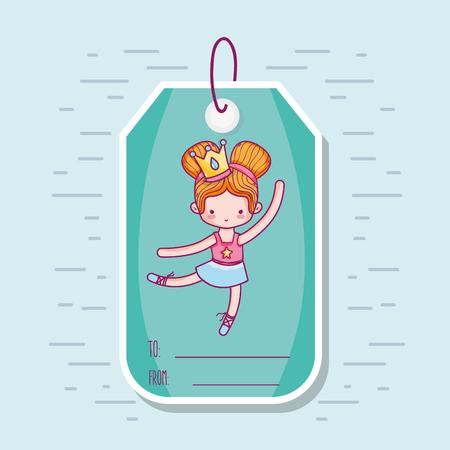 decoration tag with art ballet design vector illustration Illustration