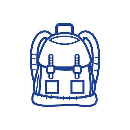 silhouette backpack object with pockets and closures design vector illustration Illustration