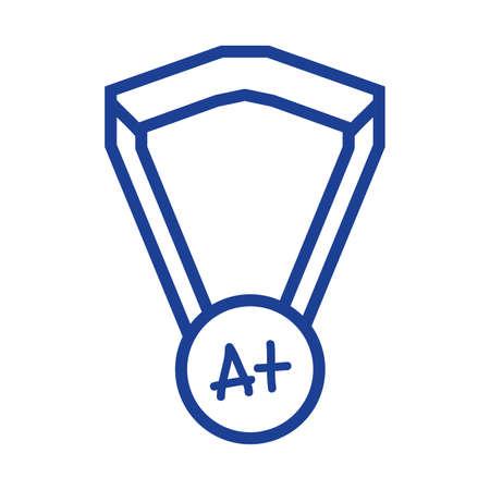 silhouette school medal symbol to intelligent student vector illustration Illustration