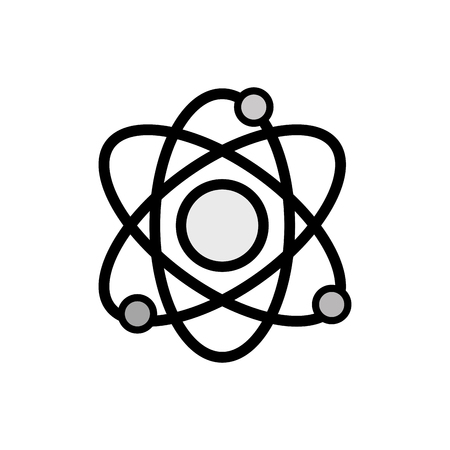 grayscale physics orbit atom to chemistry education vector illustration