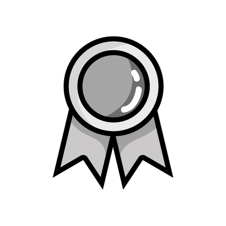 grayscale school medal symbol to intelligent student vector illustration
