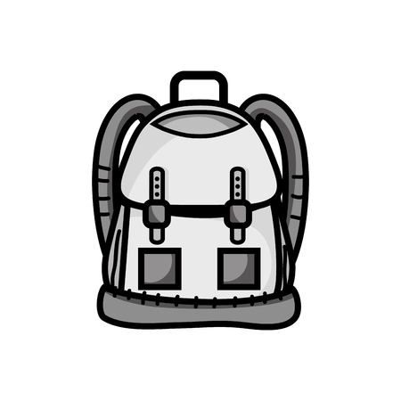 grayscale backpack object with pockets and closures design vector illustration