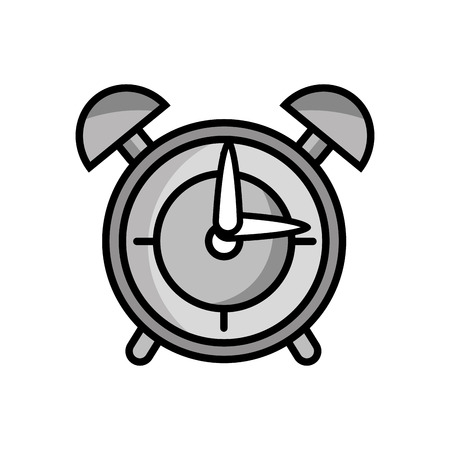 grayscale round clock alarm object design vector illustration