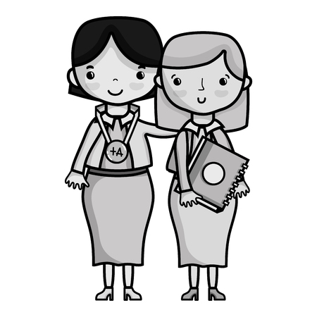grayscale teacher with student to class education lesson vector illustration