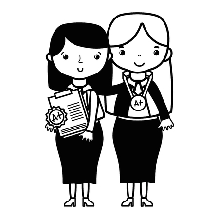 contour teacher with student to class education lesson Illustration