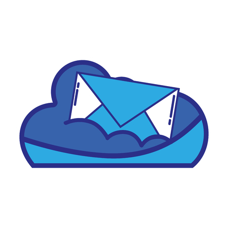 cloud data with e-mail card message Illustration