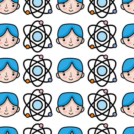 physics orbit atom with boy student background