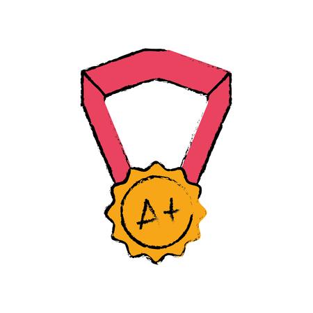 school medal symbol to intelligent student vector illustration