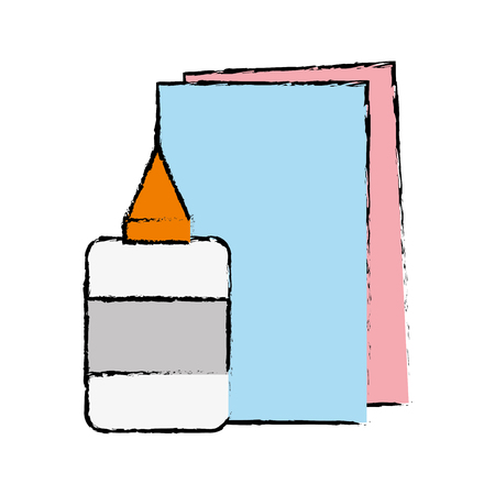 glue and cardboard scchool utensils to education vector illustration Ilustração