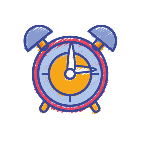 round clock alarm object design vector illustration