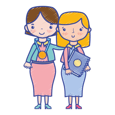 teacher with student to class education lesson vector illustration Illustration