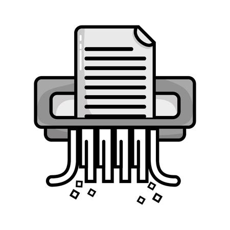 grayscale office paper shredder machine design vector illustration Иллюстрация