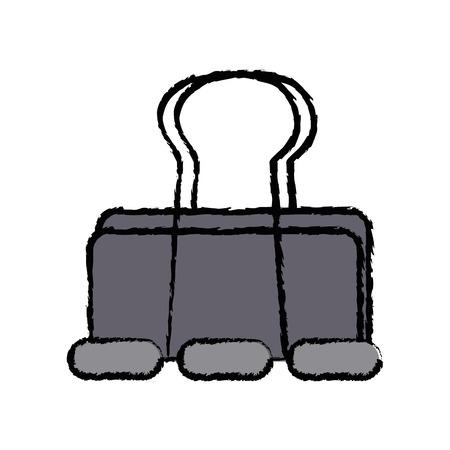 metal clip paper office equipment vector illustration
