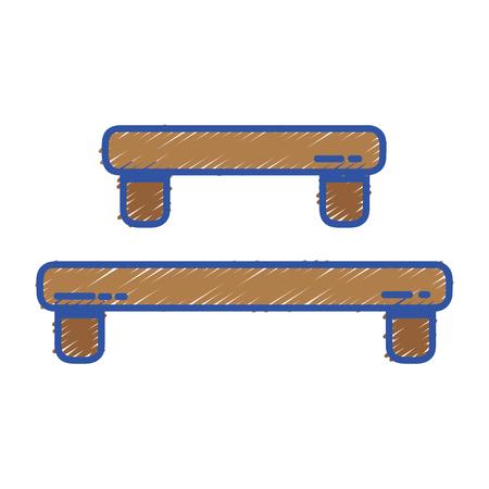 Doodle wood shelf table design vector illustration icon. Illustration