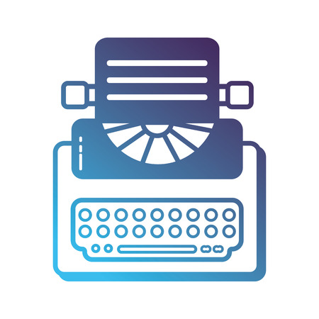 Silhouette retro typewriter equipment with business document.