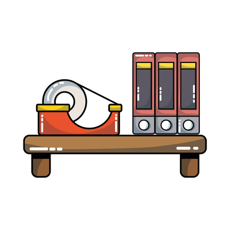 wood shelf with books and adhesive tape Illustration