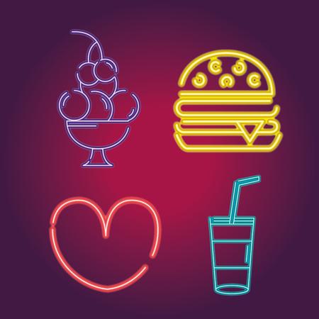 设置食物霓虹灯象装饰