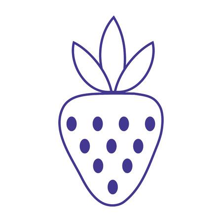 line delicious strawberry organic fruit food Illustration