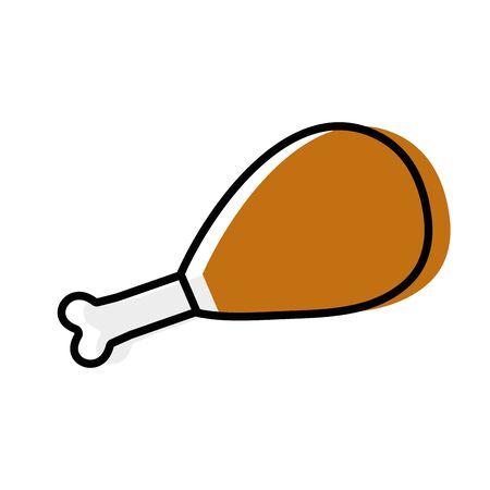 chicken thigh roast resh food vector illustration