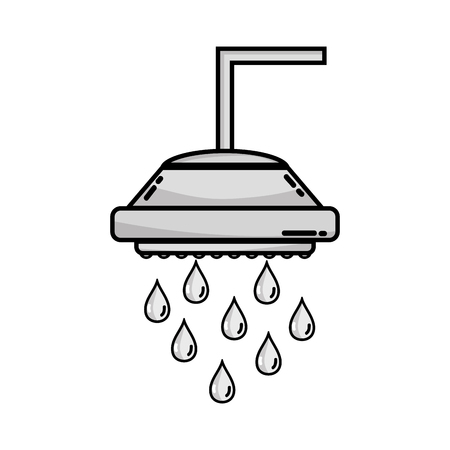 grayscale plumbing tube shower with water drops vector illustration