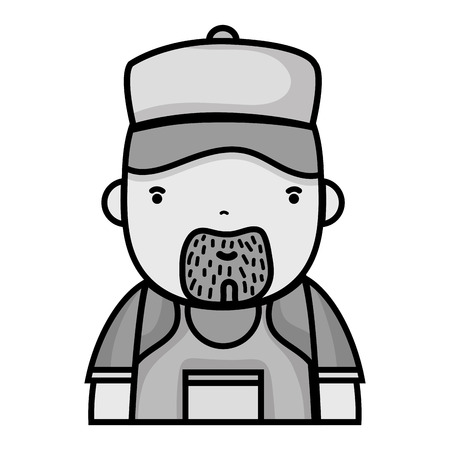 grayscale man plumber job to service repair vector illustration