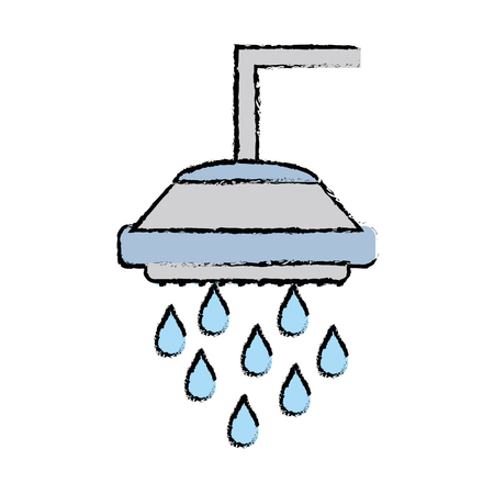 doodle plumbing tube shower with water drops vector illustration Illustration