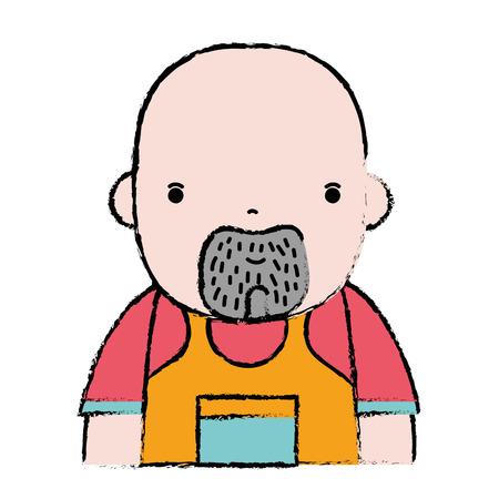 fitting: doodle man plumber job to service repair vector illustration Illustration